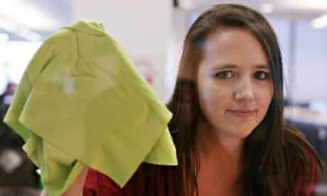 Erica Buist tries cleaning some glass with an e-cloth