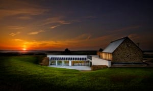 Sun setting over Underhill House - a UK eco home