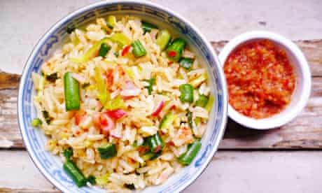 Malaysian vegetable and herb rice salad (nasi ulam)
