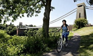 VE Cycling: page 33 A cyclist passes the Clifton suspension bridge in Bristol