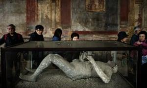 Body cast displayed in Pompeii