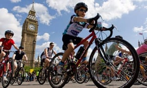 A young cyclist during RideLondon 2013.