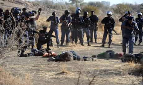 South Africa police and fallen Marikana miners