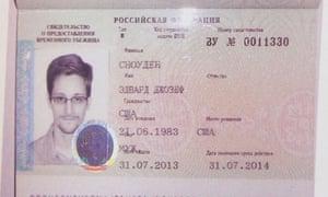 Edward Snowden's new refugee documents