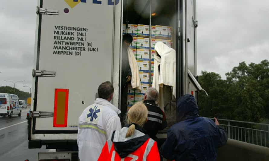 human trafficking victims in back of lorry