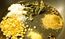 Readers recipe swap: Angela Kim's winning south Indian Sambar curry – dry ingredients in the pan