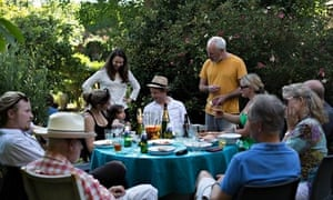 Get togethers: Oliver Rowe and friends in his voluminious and fragrant garden in Hampstead