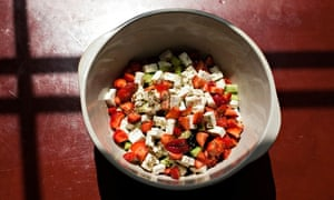 Get togethers: a Watermelon, feta, olive, cucumber and strawberry salad