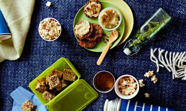 10 best healthy snacks: a relatively healthy spread of Halva, masala popcorn and carrot-cake