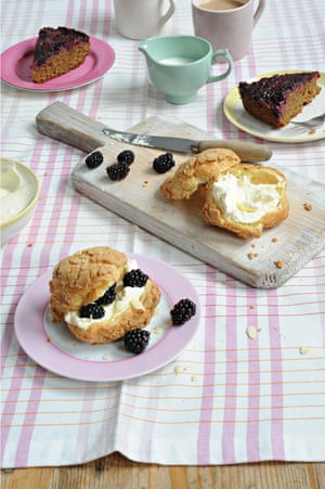 Ruby bakes with blackberries: choux buns and an upsdiae down cake