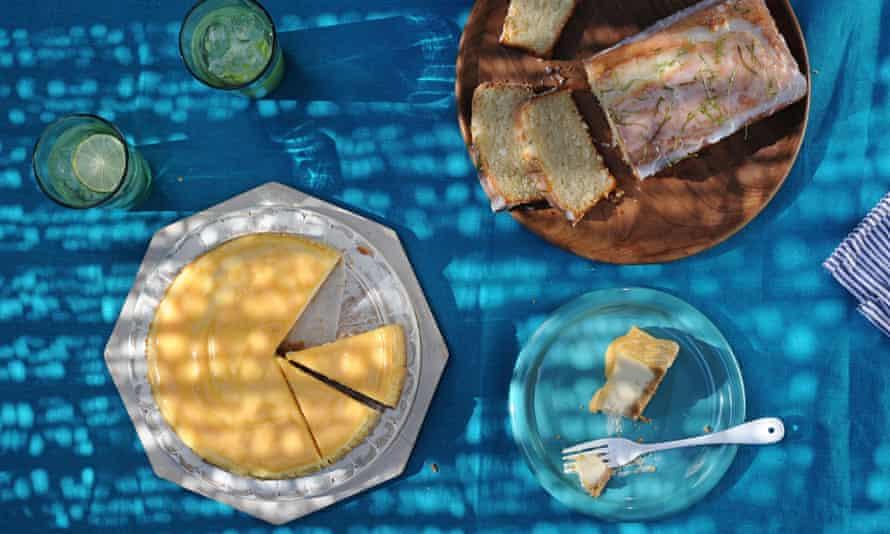 Coconut ricotta loaf cake and orange passion fruit ricoota cheesecake.