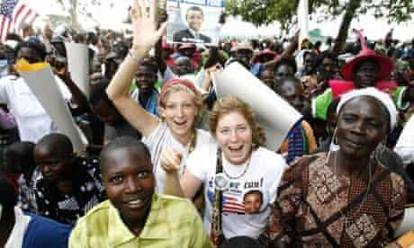 Kenya villagers obama celebrations with tourists
