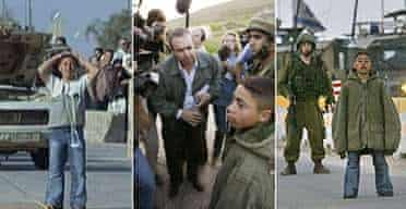 A 14-year-old Palestinian boy, left, wearing an explosives vest, surrenders at an Israeli checkpoint before being paraded to the media. Photographs: Lefteris Pitarakis/AP
