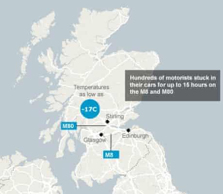 Map: Scotland winter road chaos