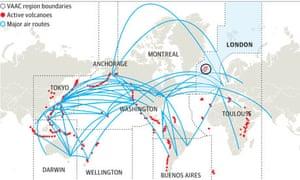 World flight routes volcanoes