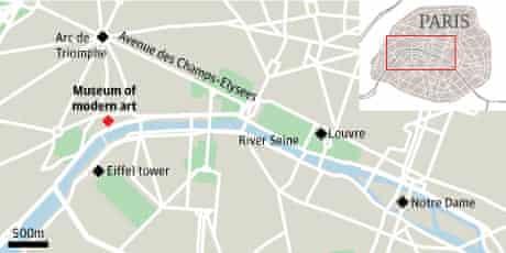 Graphic: map - museum of modern art in Paris