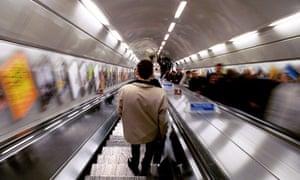 The down escalator, London Underground