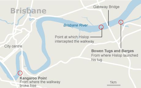Map - Tug saves Gateway Bridge, Brisbane