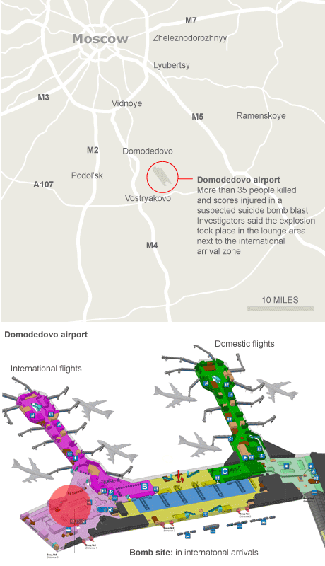 Graphic: location of the bomb at Domodedovo airport