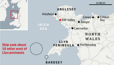 Location of helicopter rescue off north coast of Wales