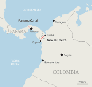 Map - Colombia new rail connection