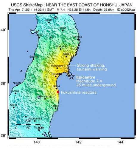 Japans Fukushima Plant Evacuated After New Earthquake World - Japan 2011 map