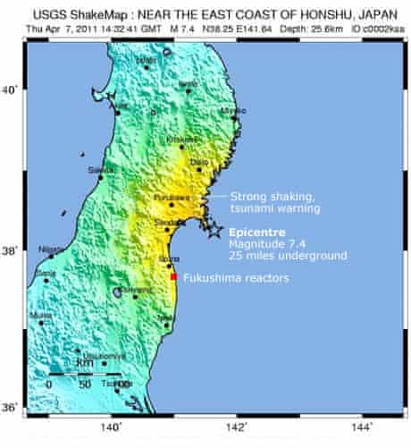 Japan, quake location map from USGS