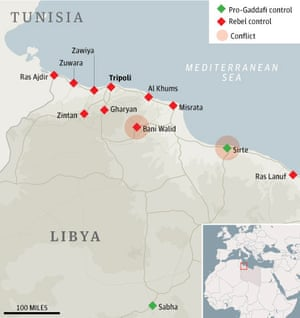 Map: Libya, rebel-controlled areas