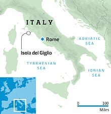 Map showing where the Costa Concordia ran aground off the coast of Italy