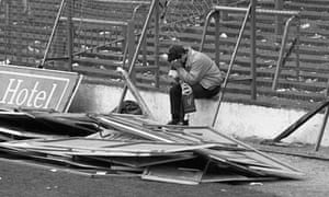 A Liverpool fan in the aftermath of the tragedy at Hillsborough in 1989