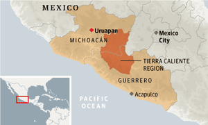 Mexico Drug War Continues To Rage In Region Where President Fired - Michoacan mexico map