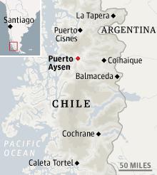 Map locating Puerto Aysen, Chile