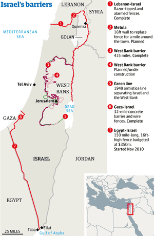 Israel Extends New Border Fence But Critics Say It Is A Sign Of - Israeli map