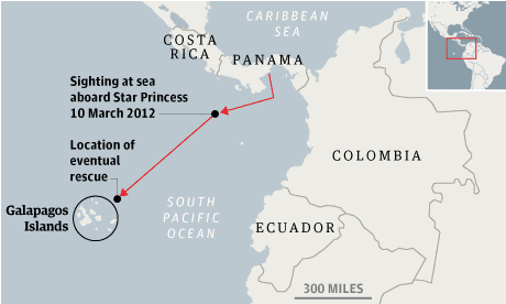 Map - ship adrift off Colombia