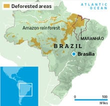 Deforested areas in Brazil