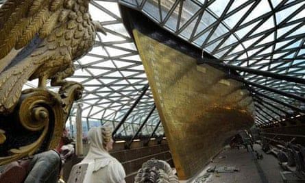 Cutty Sark soars above its dry dock, April 2012