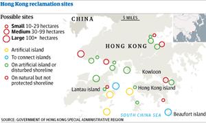 Hong Kong reclamation sites