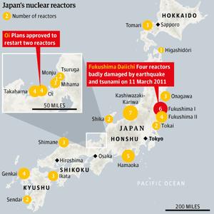 Japan reactors map