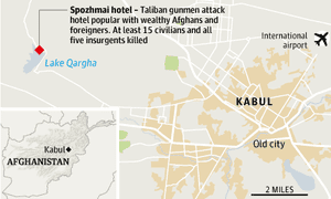 Afghanistan hotel locator map