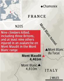 Map - Mont Maundit avalanche deaths