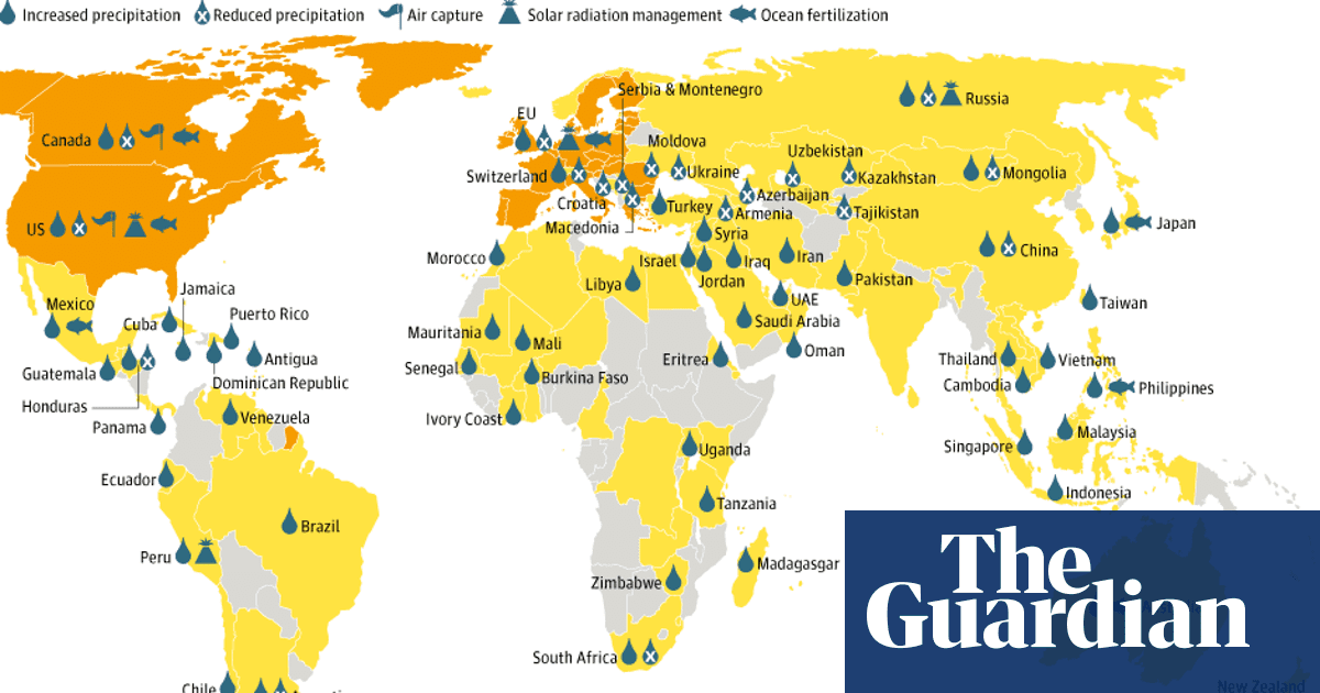 Geoengineering projects around the world - map | Environment ... on