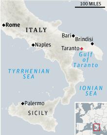 Taranto, Italy locator