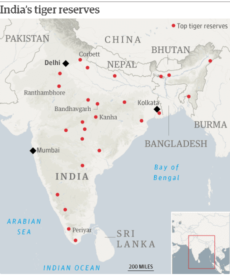 Map: India's tiger reserves