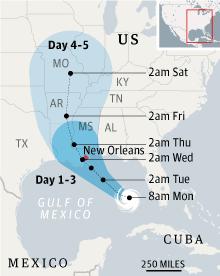 Tropical storm Isaac map