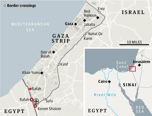Egypt-Gaza-Israel border map