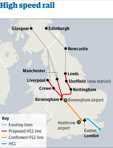 northern cities await announcement on high speed rail route and stations uk news the guardian