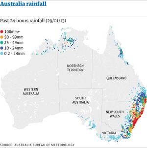 Australia rainfall map