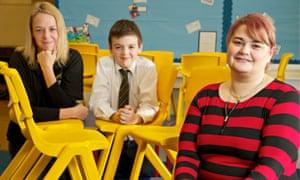 Alison Owen (left) with her son Charlie and Barrowford primary school headteacher Rachel Tomlinson.