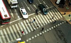 A pedestrian crossing, Valencia, Spain.