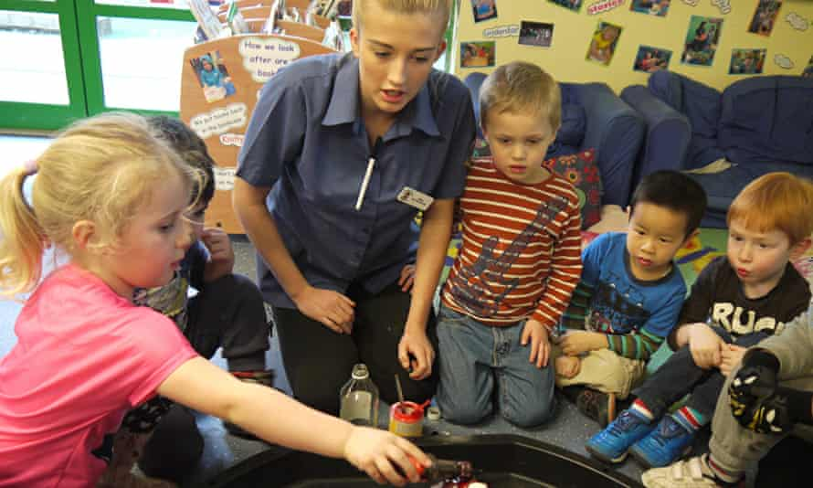 A science experiment under way at a Busy Bees nursery.